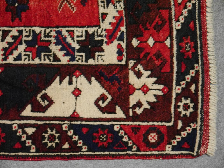 Turkish Rug Hand Knotted Semi Antique Dosemealti Red and Blue Midcentury Carpet For Sale 1