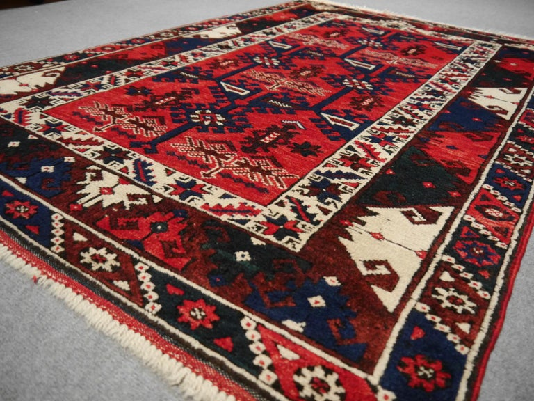 Turkish Rug Hand Knotted Semi Antique Dosemealti Red and Blue Midcentury Carpet For Sale 2