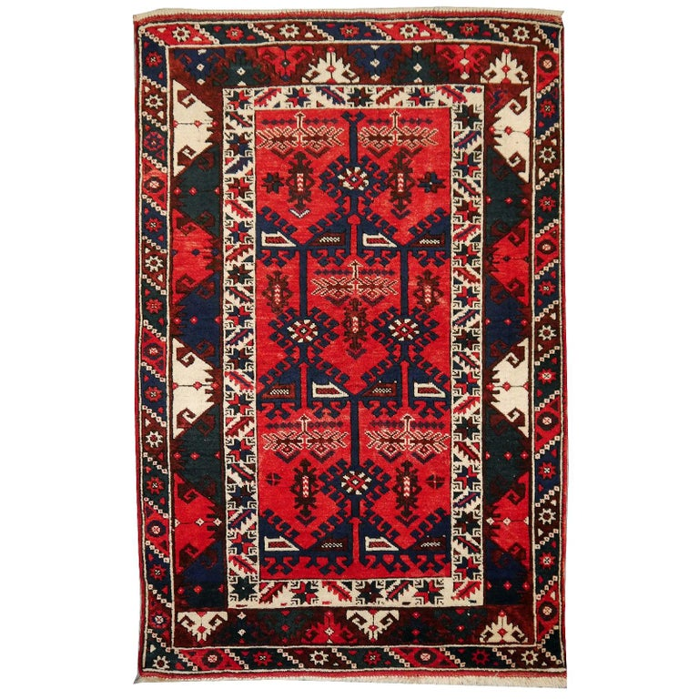 Turkish Rug Hand Knotted Semi Antique Dosemealti Red and Blue Midcentury Carpet For Sale