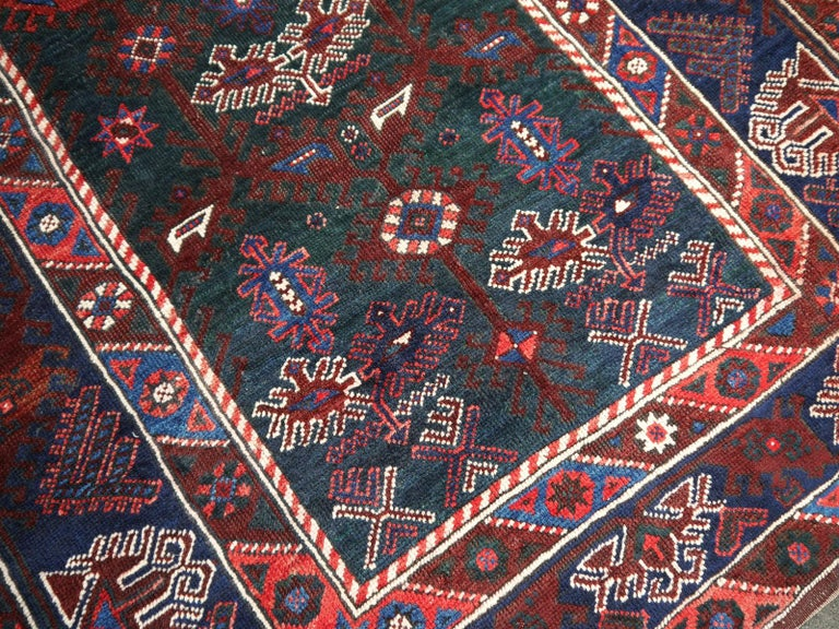 Tribal Turkish Rug Hand-Knotted Semi Antique with Rare Green Field For Sale
