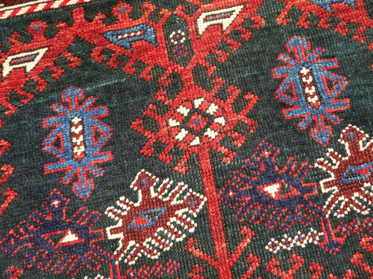 Wool Turkish Rug Hand-Knotted Semi Antique with Rare Green Field For Sale