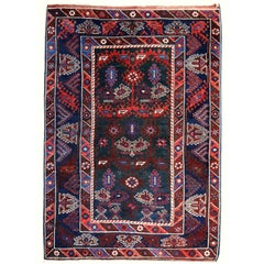 Turkish Rug Hand-Knotted Semi Antique with Rare Green Field