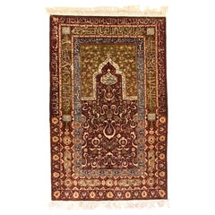 Turkish Rug Herekeh Silk with Gold Metal Trade and Poetry Script Signed
