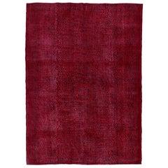 7.3x10 ft VintageTurkish Handmade Wool Rug Over-dyed in Burgundy Red
