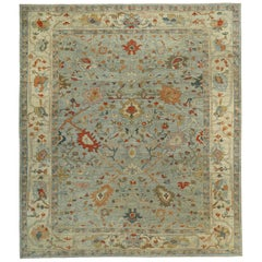 Turkish Rug Sultanabad Style with Rust, Orange and Blue Botanical Details