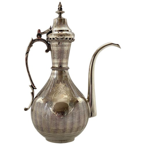 Turkish Silver Ewer and Cover, Tourgha Mark, Islamic Market, 19th Century