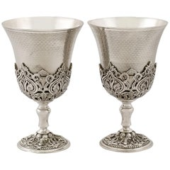 Turkish Silver Goblets, Antique, circa 1880
