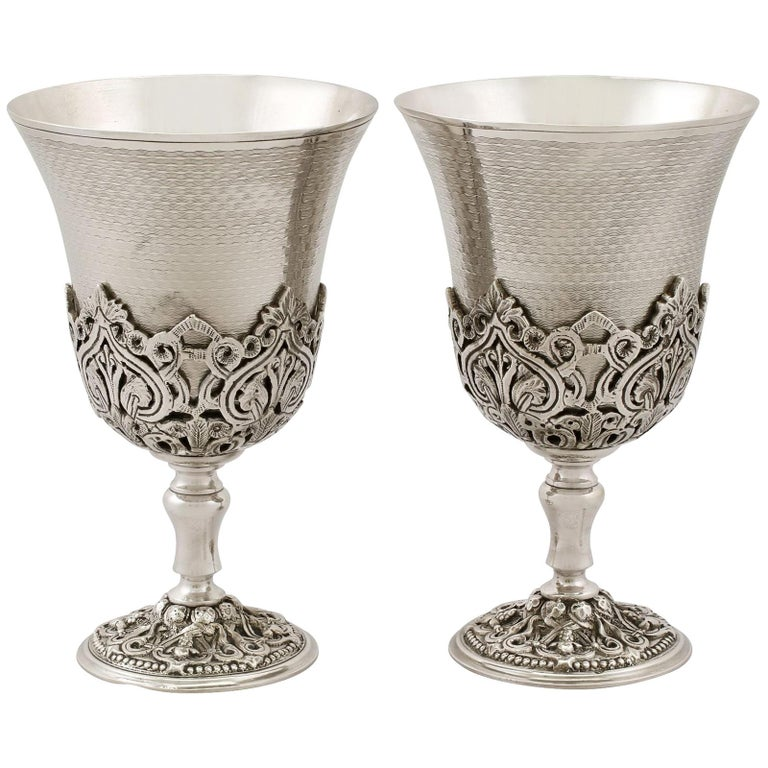 Turkish Silver Goblets, Antique, circa 1880 For Sale
