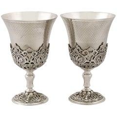 Turkish Silver Goblets Antique, Circa 1880