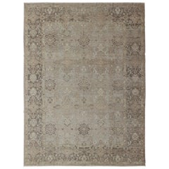Turkish Sivas Fine Weave Rug in Taupe, Gray, Ivory and Brown and Cream Colors
