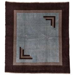 Turkish Square Art Deco Rug, Light Blue Field, Brown Borders