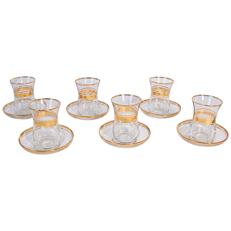 Turkish Tea Glasses with Gold Overlay Set of Six
