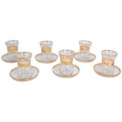 Turkish Tea Glasses with Gold Overlay Set of Six