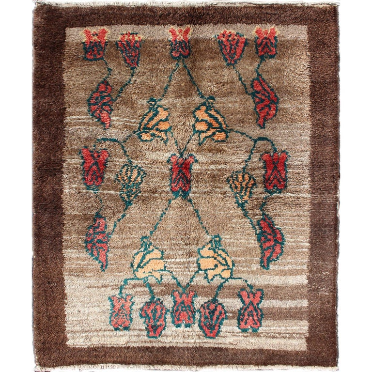 Turkish Tulu Carpet With Camel Color Field Surrounded By A