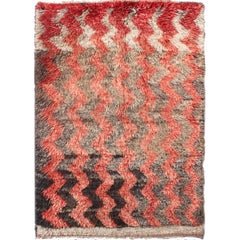 Turkish Tulu Carpet with Zig-Zag Stripe Pattern in Gray, Charcoal and Red