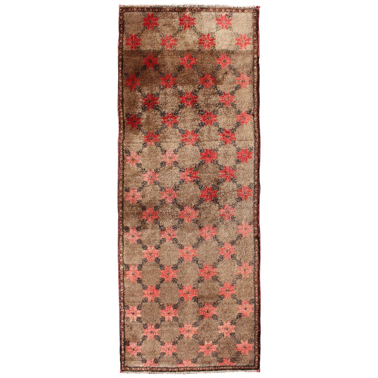 Turkish Tulu Runner with Poinsettias Design in Brown, Charcoal, Red and Ivory For Sale