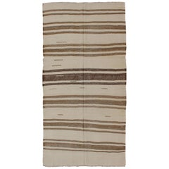 Turkish Vintage Kilim Flat-Weave Rug in Brown and Cream with Stripe Design