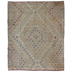 Turkish Vintage Kilim Rug with All-Over Tribal Diamond Pattern