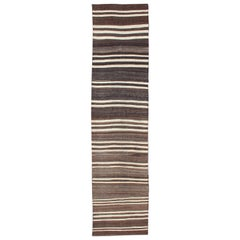 Turkish Vintage Kilim Runner with Shades of Brown and Ivory Stripe Modern Design