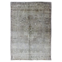 Turkish Vintage Oushak Rug with Geometric Medallion Design in Taupe and Lavender