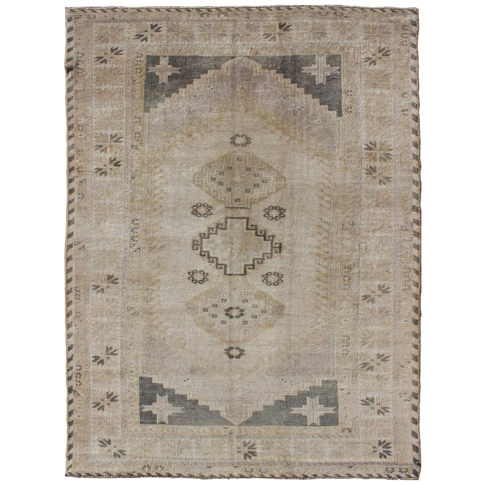Turkish Vintage Oushak Rug with Tribal Pattern in Gray Green and Neutral Tones
