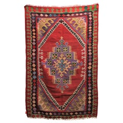 Turkish Wool Kilim in a Red and Purple Tribal Pattern