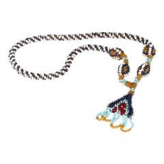 Turkish WWI Prisoner of War Glass Beadwork Amulet Necklace