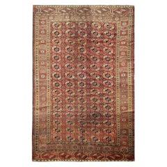 Turkmen Area Rug Bokhara Carpet Large Antique Handwoven Carpet