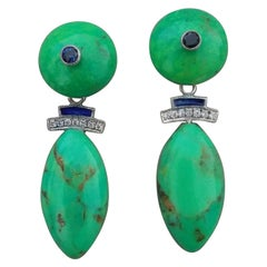 Turkmenistan Green Turquoise Blue Sapphires Blue Enamels Diamonds Gold Earrings