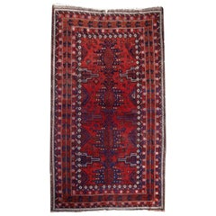Turkoman Rug Hand Knotted Semi Antique Carpet Baluch Motives