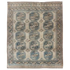 Turkomen Rug with All-Over Bokhara Design in Blue-Green and Tans