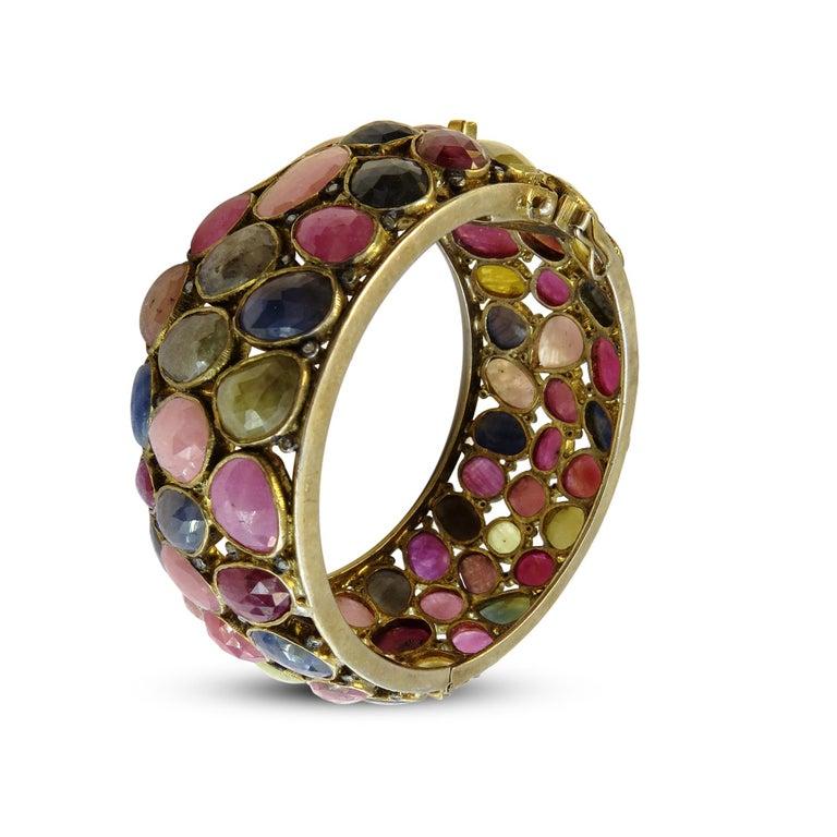 Art Deco Turmaline Multi-Color and Diamond Bangle Bracelet 18k Gold on Sterling Silver For Sale