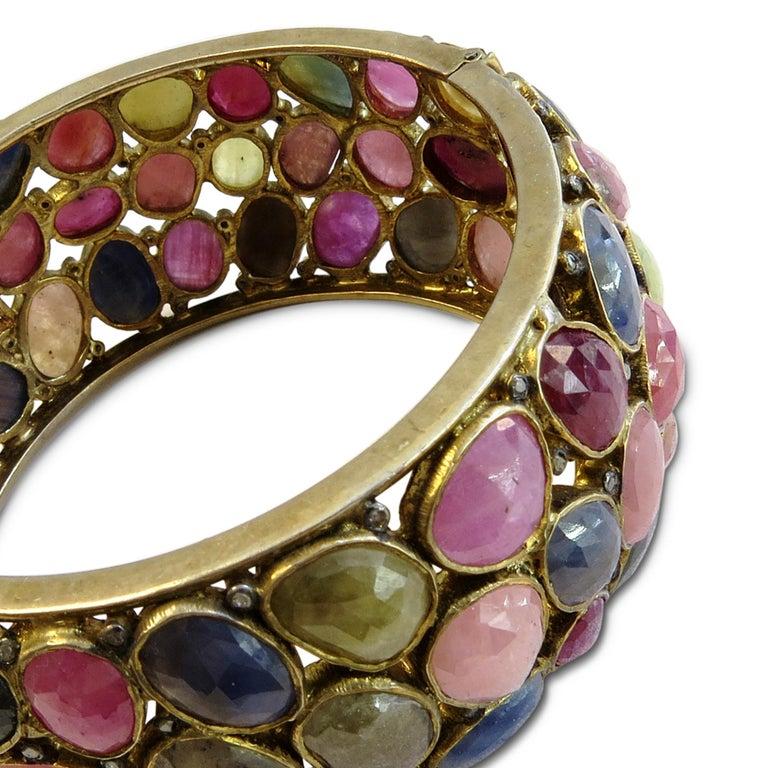 Women's Turmaline Multi-Color and Diamond Bangle Bracelet 18k Gold on Sterling Silver For Sale