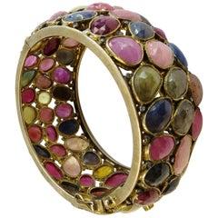 Turmaline Multi-Color and Diamond Bangle Bracelet 18k Gold on Sterling Silver