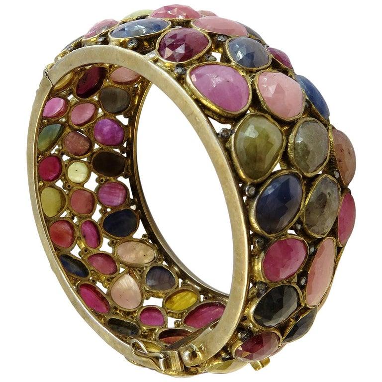 Turmaline Multi-Color and Diamond Bangle Bracelet 18k Gold on Sterling Silver For Sale
