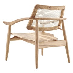 Turn Armchair Cane-Back Chair with Shaped Wooden Seat in Teak