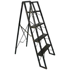 Turn of Century Industrial Collapsable Step Ladder Closes