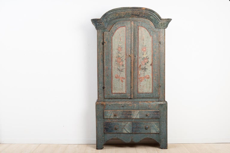 Hand-Painted Turn of the Century 18th-19th Swedish Rococo Cabinet For Sale