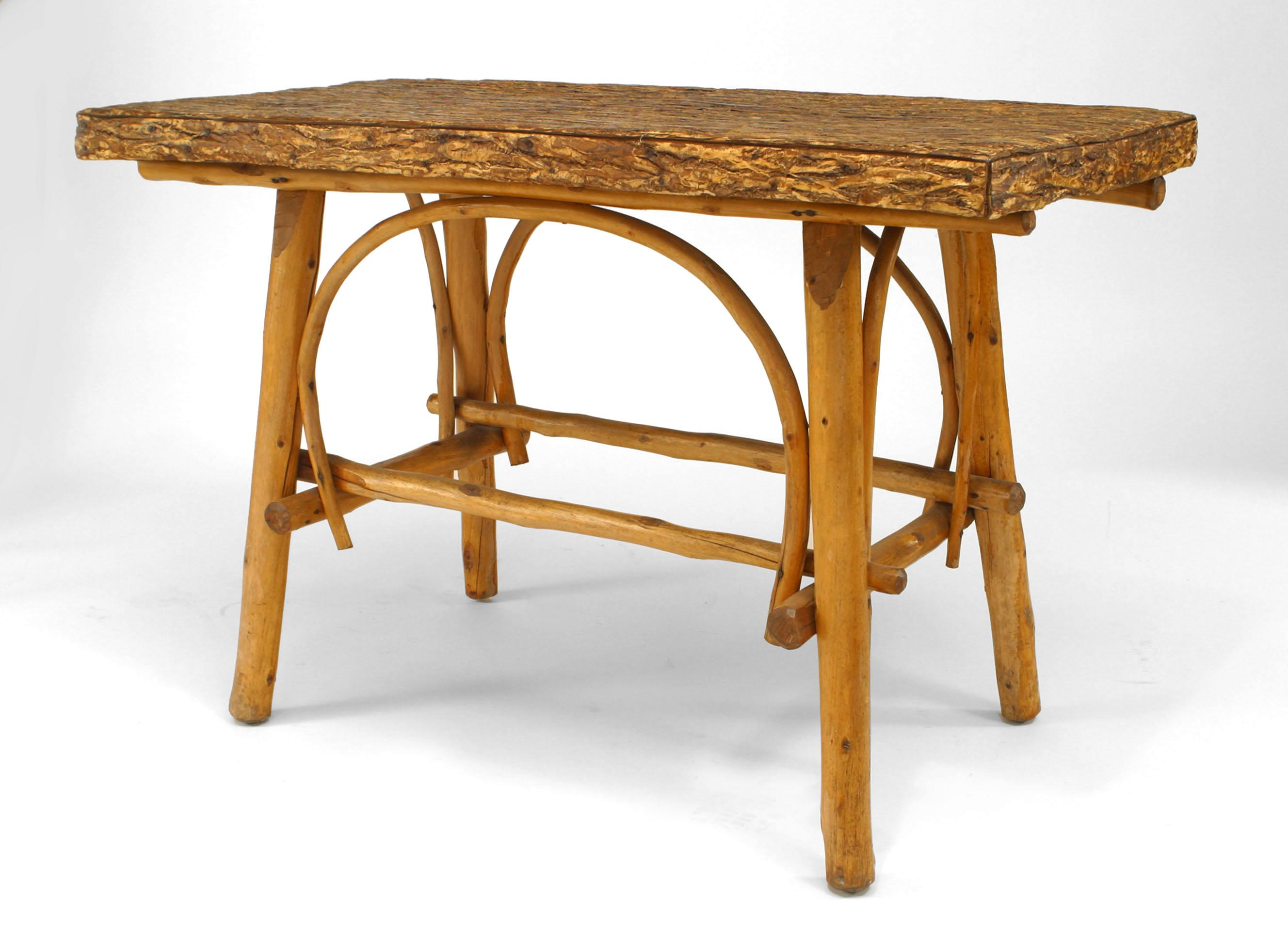 Turn Of The Century American Adirondack Style Barked Center Table For At 1stdibs