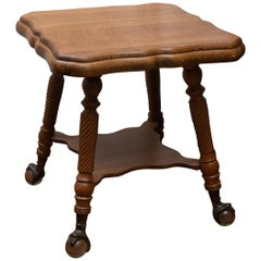 Turn of the Century American Quarter Sawn Oak Parlor Table with Ball & Claw Feet