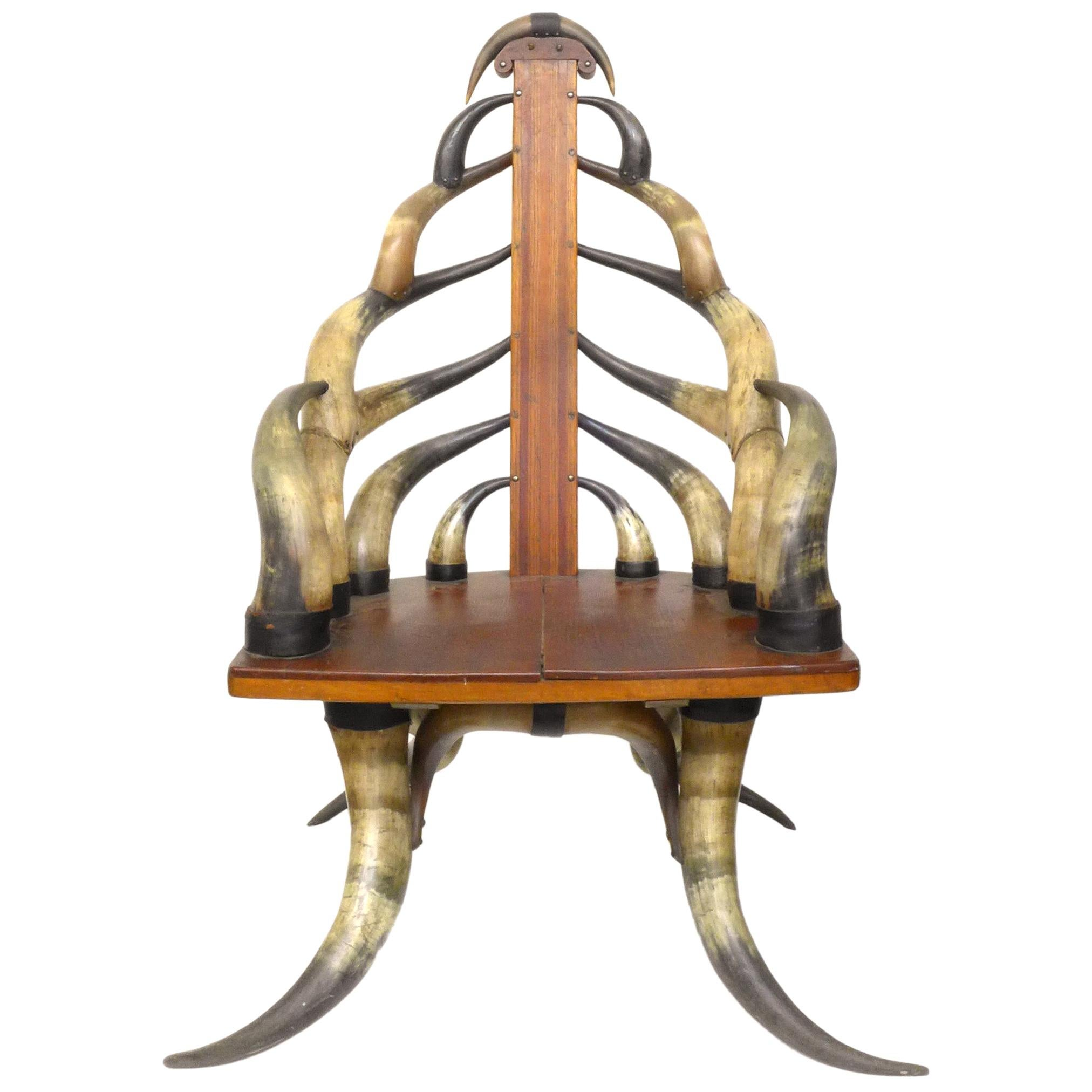 Turn of the Century American Steer Horn Parlor Chair