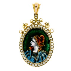 Turn-of-the-Century Antique Enamel and Pearl Miniature Locket