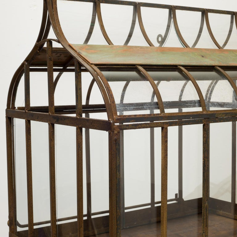 Industrial Turn of the Century Antique Wrought Iron Wardian Case on Stand, circa 1900 For Sale