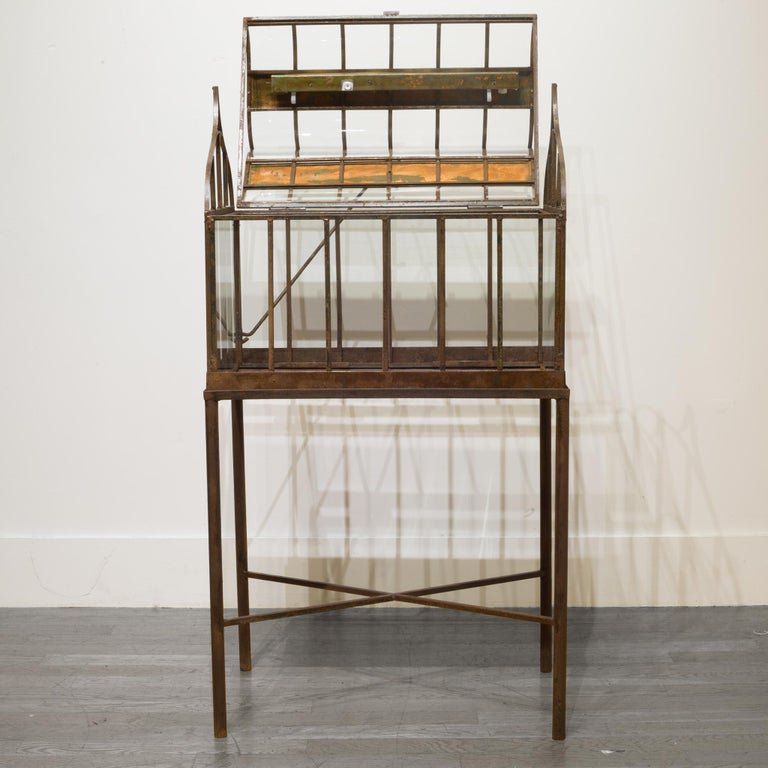20th Century Turn of the Century Antique Wrought Iron Wardian Case on Stand, circa 1900 For Sale