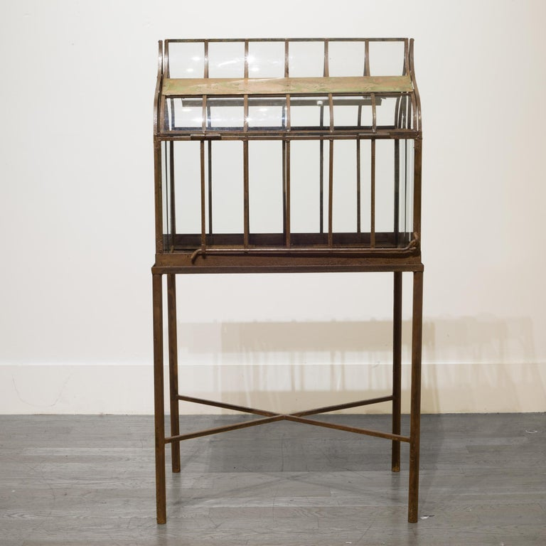 Turn of the Century Antique Wrought Iron Wardian Case on Stand, circa 1900 For Sale 1