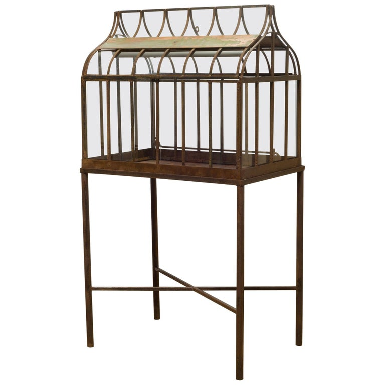 Turn of the Century Antique Wrought Iron Wardian Case on Stand, circa 1900 For Sale