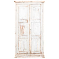 Turn of the Century Belgian White Patinated Armoire