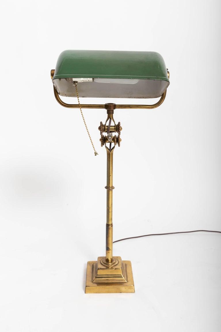 Blackened Turn-of-the-Century Brass Desk Lamp For Sale