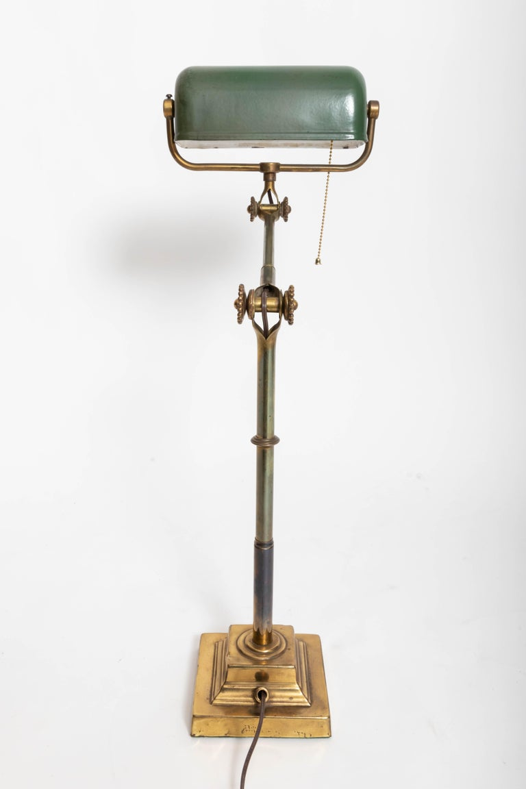 Turn-of-the-Century Brass Desk Lamp In Good Condition For Sale In East Hampton, NY