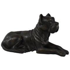 Turn of the Century Cast Bronze Mastiff Dog Statue Laying Down